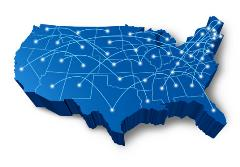 Blue map of the United States of America with city markers and travel routes.